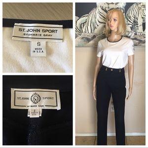 St. John sport short sleeved blouse & blue pants